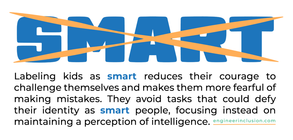 Stop calling kids smart. Labeling kids as smart reduces their courage to challenge themselves and makes them more fearful of making mistakes. They avoid tasks that could defy their identity as smart people, focusing instead on maintaining a perception of intelligence.